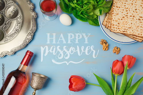 Passover holiday greeting card with seder plate matzoh tulip passover holiday greeting card with seder plate matzoh tulip flowers and wine bottle on m4hsunfo