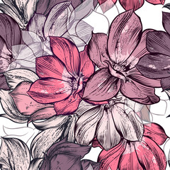 Fototapeta Beautiful vector pattern with magnolia flowers plants. Ideal for fabric prints patterns