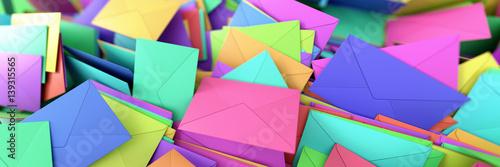 Leinwand Poster Infinite mail envelopes, 3d rendering background