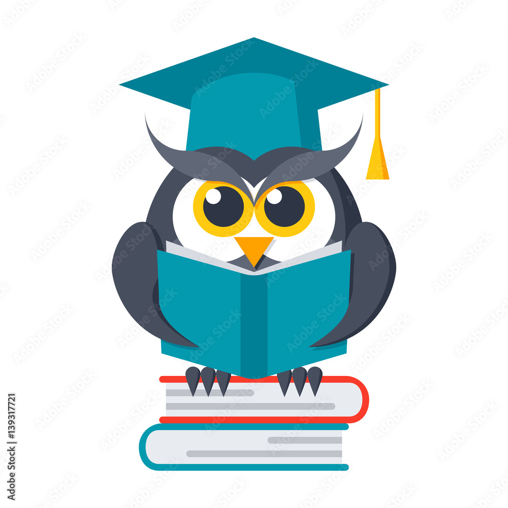 Poster Wisdom Concept, Owl With Books In Graduation Cap
