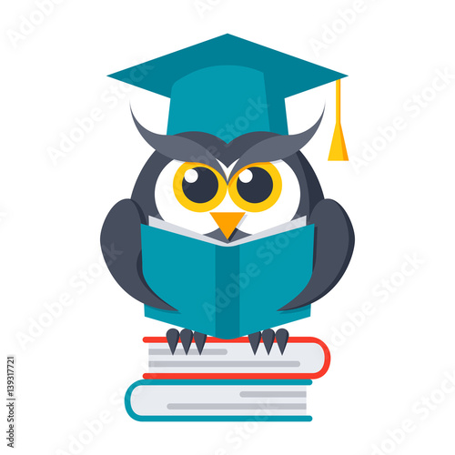 Wisdom concept, owl with books in graduation cap