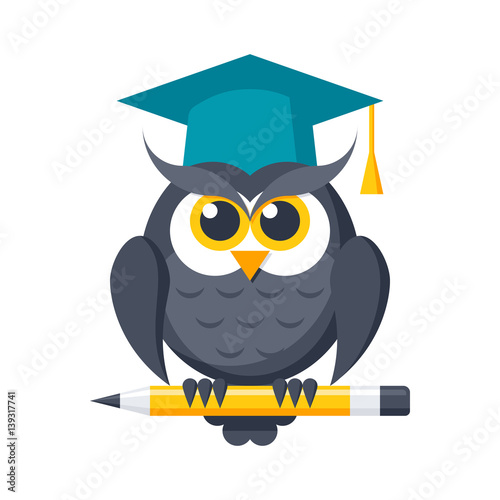Poster Uilen cartoon Wisdom or knowledge concept with owl in graduation cap