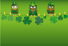 Three Owls In National Dress Drinking Beer In Glasses Sitting On A Rope. Clover Hanging On Clothespins.
