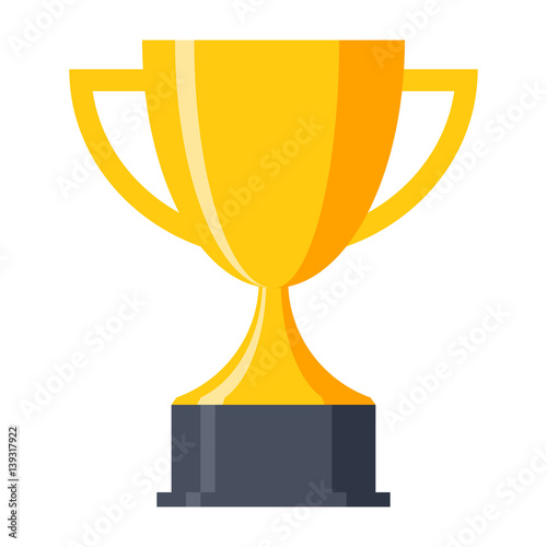 Fotografía  Trophy cup, award, vector icon in flat style