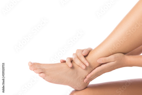 Poster Pedicure Woman is touching her injured ankle