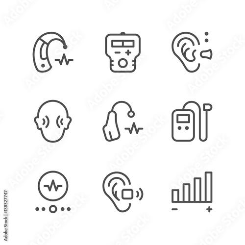 Fotografia, Obraz  Set line icons of hearing aid