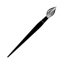 Black Contour Paint Brush Icon...