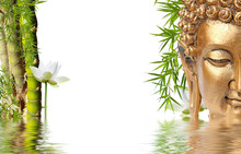 Composition Asiatique Zen, Bouddha, Bambou à Noeud Et Lotus