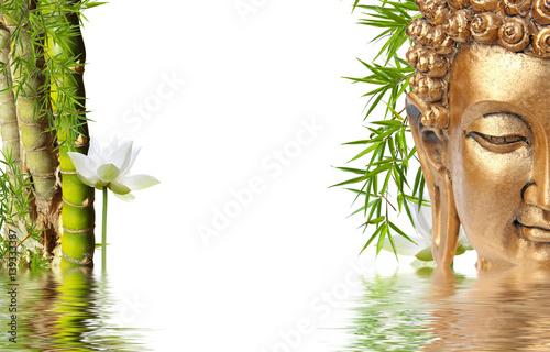 Foto-Stoff - composition asiatique zen, Bouddha, bambou à noeud et lotus  (von Unclesam)