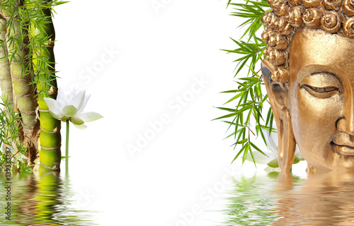 Doppelrollo mit Motiv - composition asiatique zen, Bouddha, bambou à noeud et lotus