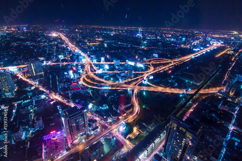 Photographie  Night traffic transport circle junction road