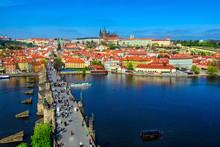 Charles Bridge (Karluv Most), Prague Castle And Vltava River In Prague, Czech Republic