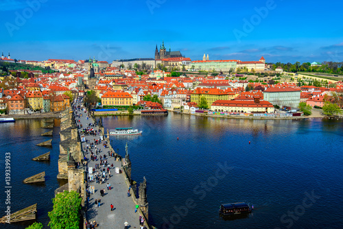 Prague Charles Bridge (Karluv Most), Prague Castle and Vltava river in Prague, Czech Republic