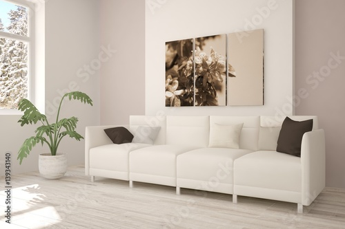Brilliant White Room With Sofa And Winter Landscape In Window Gmtry Best Dining Table And Chair Ideas Images Gmtryco