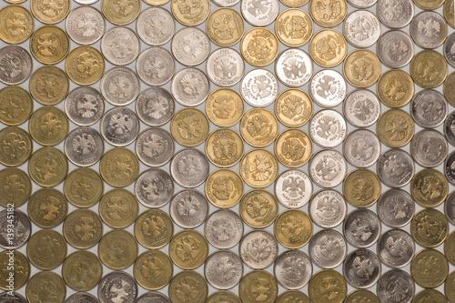 Fotografía  One rubl coins tile background