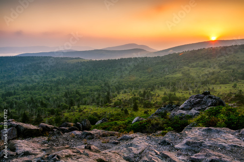 Scenic sunset, Grayson Highlands, Appalachian Trail, Virginia Fototapet