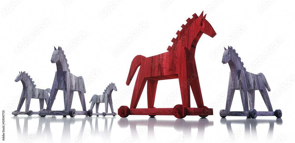 Valokuva  Trojanische Pferde auf Weiß