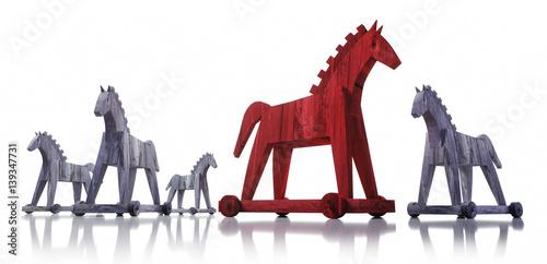 Trojanische Pferde auf Weiß Canvas-taulu