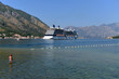 Kotor Bay view and cruise luxury liner, Montenegro