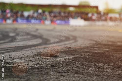 Closeup of burn tire