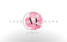 AQ Letter Logo Design With Watercolor Circular Brush Stroke.