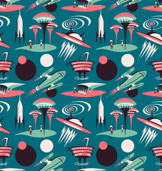 Tapeta The space city of the future - vector seamless pattern. Space fabric design with rockets and modern city.