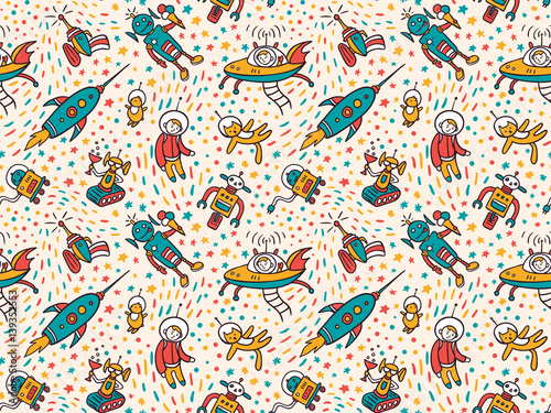 Cotton fabric Vector seamless patterns with funny ufo. Colorful seamless background for child fabric design.