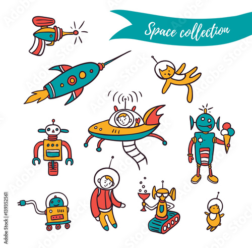 Poster Cartoon draw Vector space elements - funny ufo, robots and space rockets . Colorful set isolated on the white background.