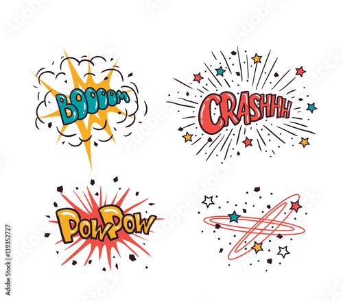 Printed kitchen splashbacks Comic speech bubbles set isolated on the white background, vector illustration. Crash, boom, pow pow - cartoon lettering.