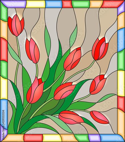 ilustracja-w-stylu-witrazu-z-bukietem-czerwonych-tulipson-bezowym-tle-w-ramce