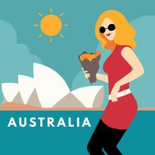 Vector Illustration Of Blonde Woman In Sydney, Australia