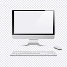 Modern Monitor With Keyboard And Computer Mouse On Transparent Background