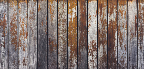 Poster Retro Grey and orange background with wooden texture horizontal top view isolated, vintage dark wood backdrop, old light blue rustic board, space blank back on the table, mockup nuture wall, horizontal