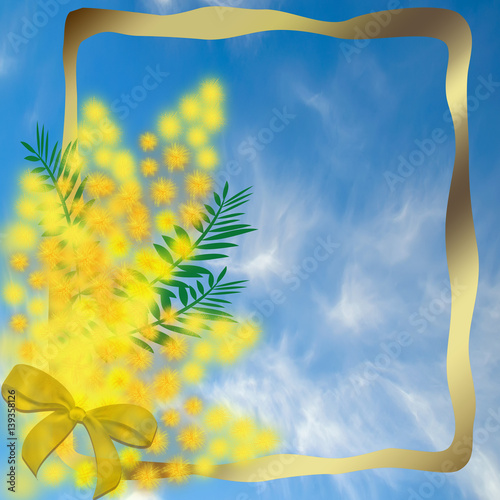 Staande foto Lente Gold frame with a bouquet of mimosa