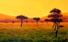 Group Of Trees In Vast African...