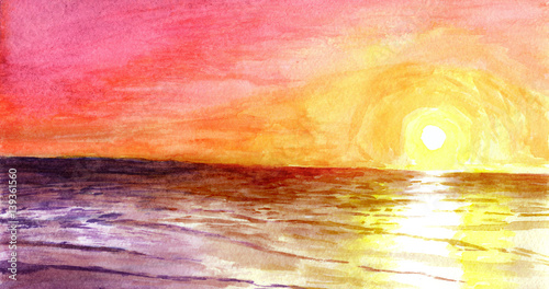 Obrazy na płótnie Canvas Sunset at the ocean in watercolor.
