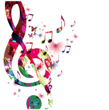 Colorful Music Notes With Butterflies Isolated Vector Illustration. Music Background For Poster, Brochure, Banner, Flyer, Concert, Music Festival