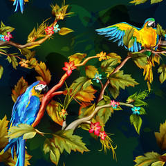 Fototapeta Zwierzęta Seamless pattern of parrots on the tropical branches with flowers and leaves. Hand drawn. Vector - stock.