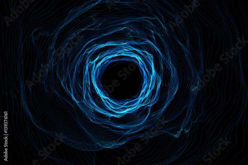 Obraz na płótnie Cosmic wormhole, space travel concept, funnel-shaped tunnel that can connect one universe with another