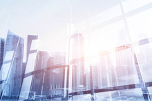 Abstract Business Modern Background With Cityscape Double Exposure