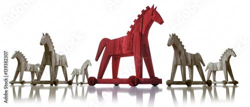 Trojanische Pferde auf Weiß 2 Canvas-taulu