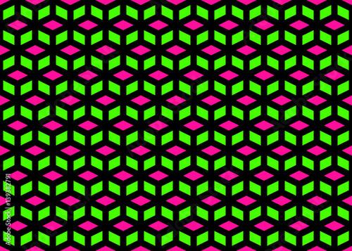 Classic Neon Colors Geometric Cube Lattice Seamless Pattern