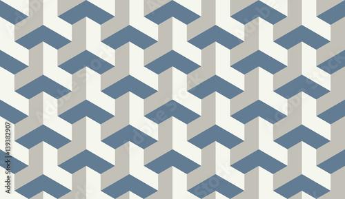 Seamless light blue op art trilateral hexagonal pattern vector Canvas Print