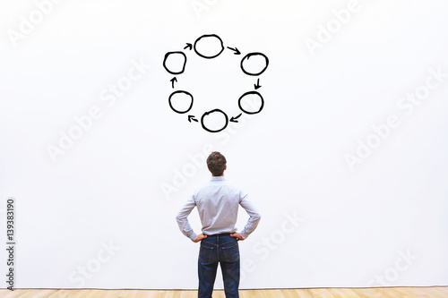 Obraz na plátně businessman looking at the circle diagram, concept background