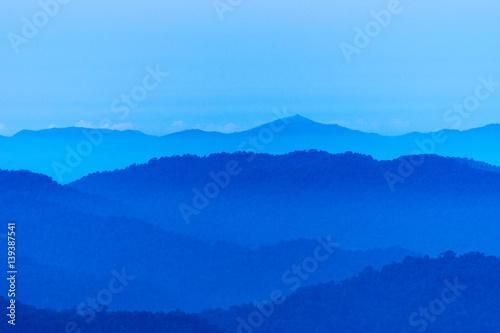 Aluminium Prints Blue Beautiful layers of the mountain} Thailand