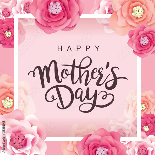 Mothers Day Greeting Card With Flowers Background