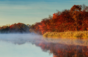 Fototapeta Do salonu Autumn foggy morning. Dawn on the misty tranquil river