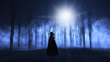 3D Female In Cloak Walking Into A  Foggy Spooky Forest