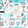 Summer beach seamless pattern. Hand drawn travel objects.