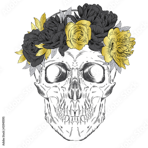 Printed kitchen splashbacks Watercolor skull Skull wearing a crown of flowers. Hipster. Vector illustration for greeting card, poster, or print on clothes.